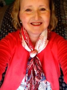 Anne Robinson wearing Hermès' Mythique Phoenix Coloriage