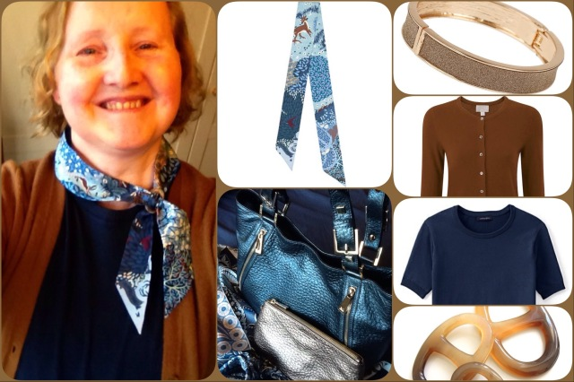 Outfit of the day 17/01/17 with Hermès' Dans un Jardin Anglais twilly