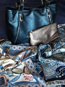 Leather items by Massaccesi, scarves by Hermès