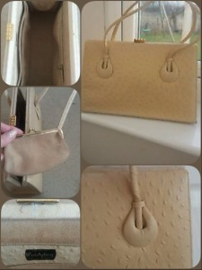 Vintage cream ostrich leather handbag - Waldybag (photos from eBay seller)