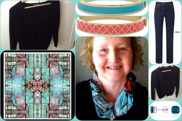 Large Acanthus scarf - Goddess and Swift - collage - #01