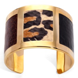 Snake skin and gold bangle - Aspinal