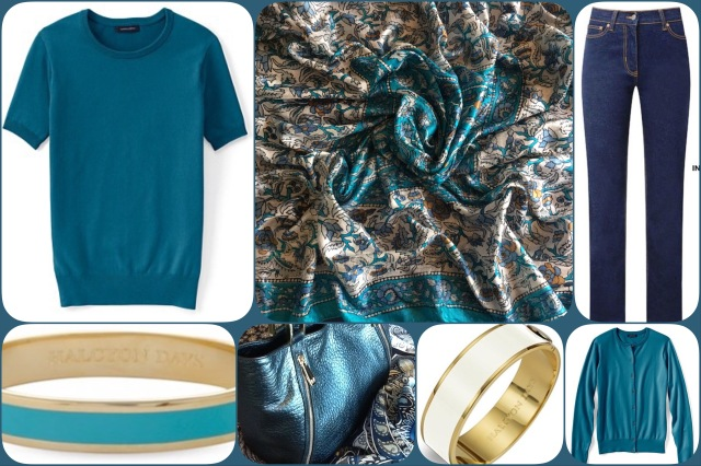 Teal silk scarf - collage #01
