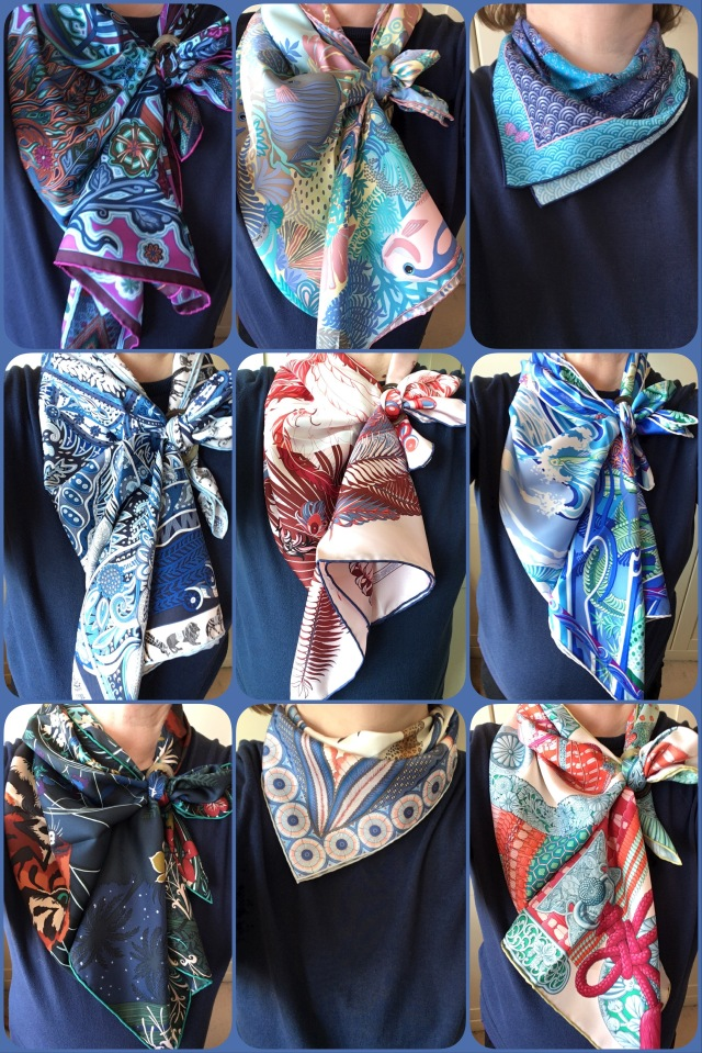 Scarf knots showing off contrast hems