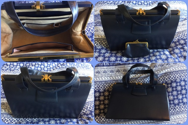 Navy leather handbag - Lodix - collage #01