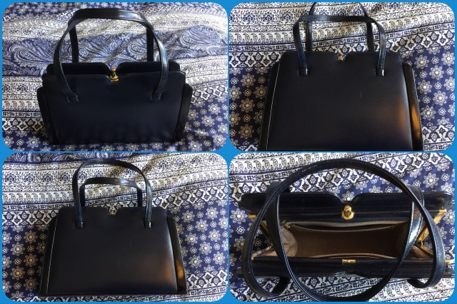 Navy leather handbag - Widegate - collage #01