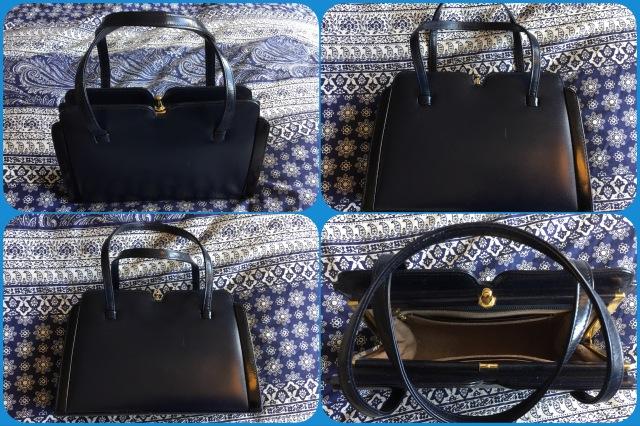 Navy leather handbag - Widegate - collage #01