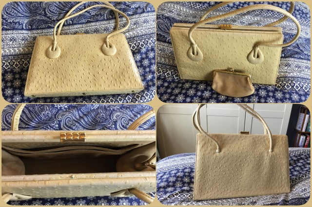 Cream ostrich leather handbag - Waldybag - collage #02