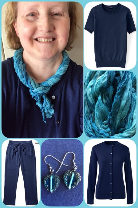 Blue silk scarf - collage #01