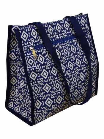 Shopper in blue and cream fabric by Isle
