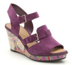 Wedge sandals - purple suede and Liberty fabric - Clarks