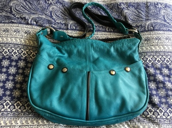 Turquoise leather handbag - Jane Hopkinson