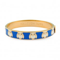 Bluebell and cream enamel, Owl bangle - Halcyon Days