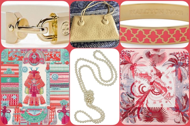 Accessories in shades of cream and coral