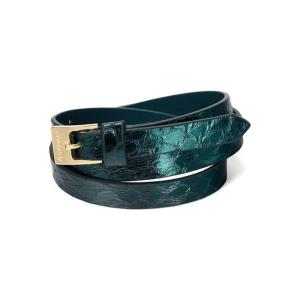 Peacock snakeskin double wrap bracelet - Aspinal