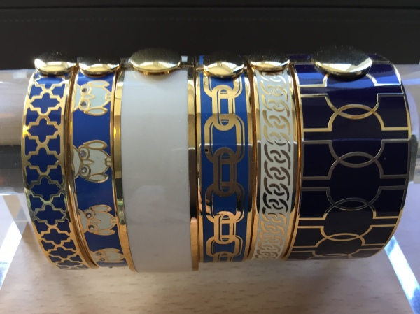 Enamel bangles in blue and cream - Halcyon Days