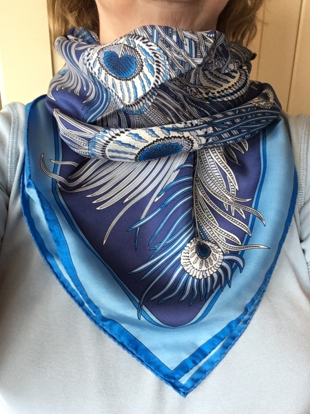 Blue Hera scarf - Liberty of London - cowboy cowl knot