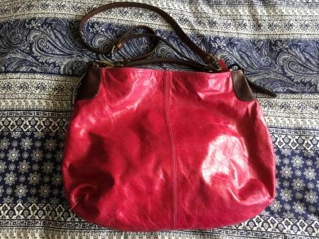 Fuchsia and brown leather handbag - Peony and Moore