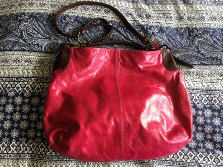Fuchsia and brown leather handbag - Peony and Moore