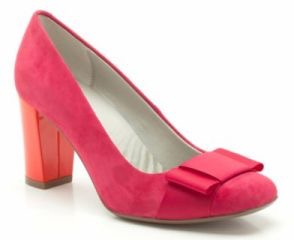 Fuchsia and orange suede court shoes - Clarks
