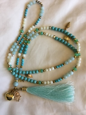 Turquoise beaded tassel necklace - BOHO-LANE