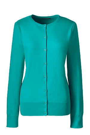 Cotton mix top in marine teal - Lands' End