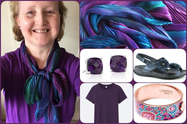 Purple, blue and green shibori scarf - Cathayana - collage #01