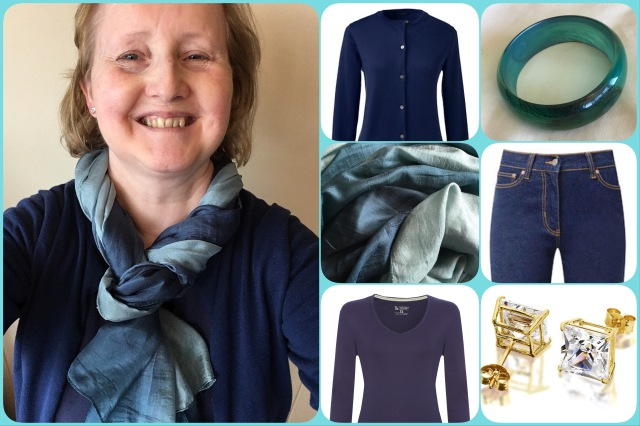 Outfit of the day 08/08/17 with teal ombré shawl