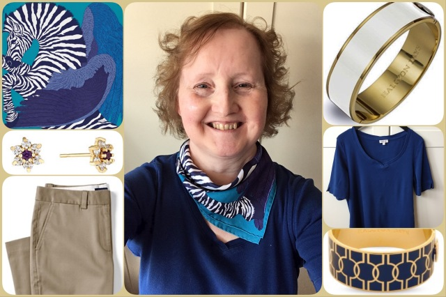 Outfit of the day 15/08/17 with Hermès' Zebra Pegasus gavroche