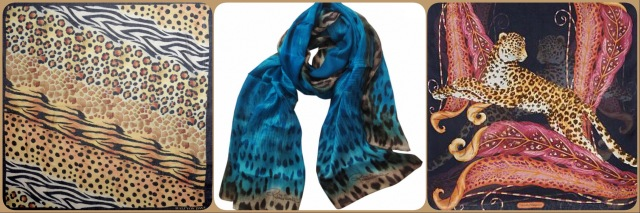Scarves with leopard print by Halcyon Days, Roberto Cavalli and Ferragamo