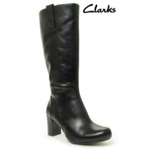 Black leather boots by Clarks