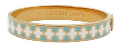 Eau de nil and cream enamel and gold bangle - Halcyon Days