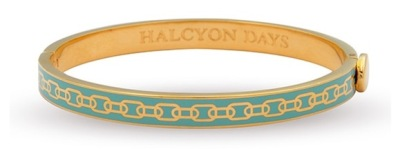 Eau de nil enamel and gold chain bangle - Halcyon Days