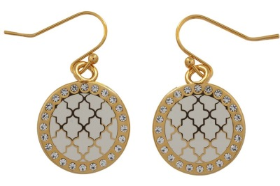 Cream enamel, crystal and gold Agama earrings - Halcyon Days