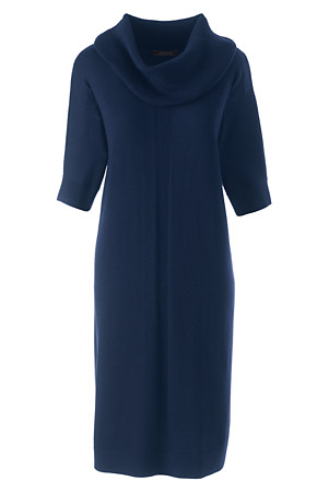 Navy merino wool dress - Lands' End