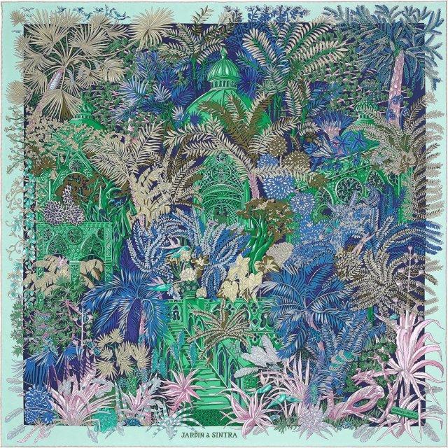 Jardin à Sintra by Annie Faivre for Hermès, colourway #05