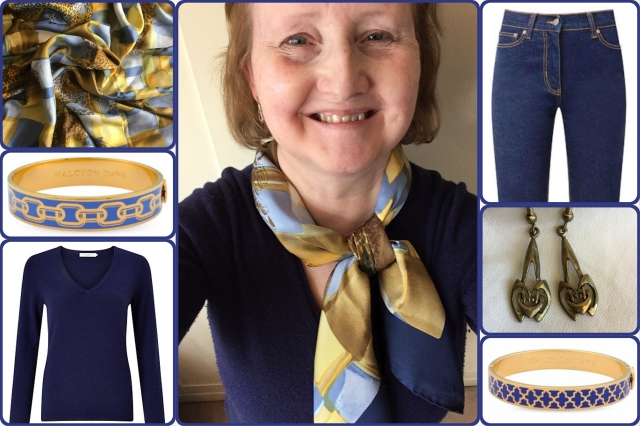 Outfit of the day 13/10/17 with Ferragamo scarf.