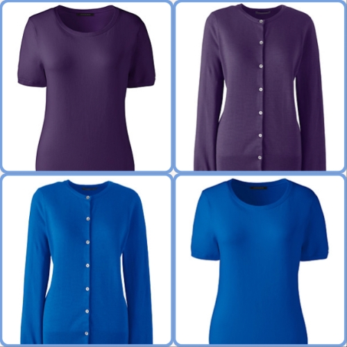 Lands' End twinsets in blackberry and cobalt blue
