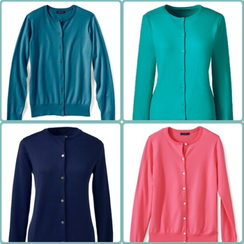 Lands' End twinsets in intense teal, maritime teal, coral rock and celestial blue