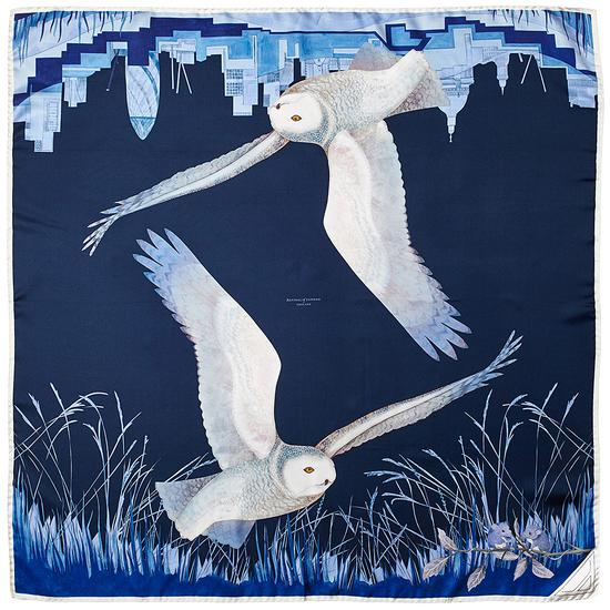 Owl in the City silk scarf by Aspinal of London