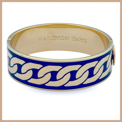 Cobalt enamel and gold Curb Chain bangle - Halcyon Days