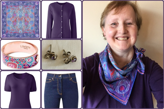 Outfit of the day 10/11/17 with Liberty's purple Hera scarf