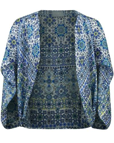 Silk satin shrug in mosaic print by Pure Collection