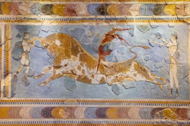 Bull-leaping Fresco, Knossos, Heraklion Archaeological Museum, Crete by Garrett Ziegler on Flickr