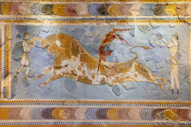 Bull-leaping Fresco, Knossos, Heraklion Archaeological Museum, Crete by Garrett Ziegler on Flickr