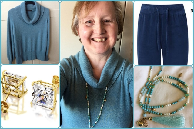 Outfit with aqua cashmere jumper by Marks and Spencer