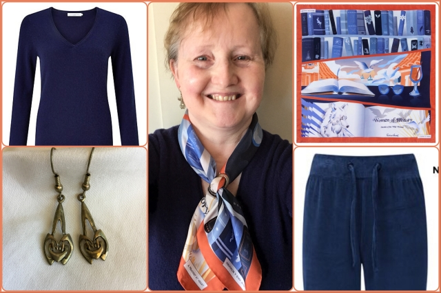 Outfit with A Feminist at Heart silk scarf by Karine Assaf