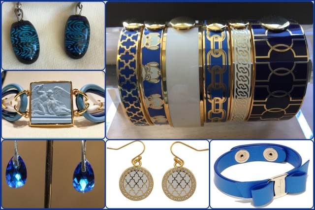 Accessories in blue and white