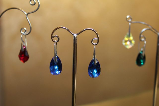 Blue crystal and silver earrings from Sonrisa Boutique