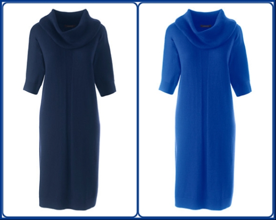Navy and cobalt merino wool knitted dresses - Lands' End